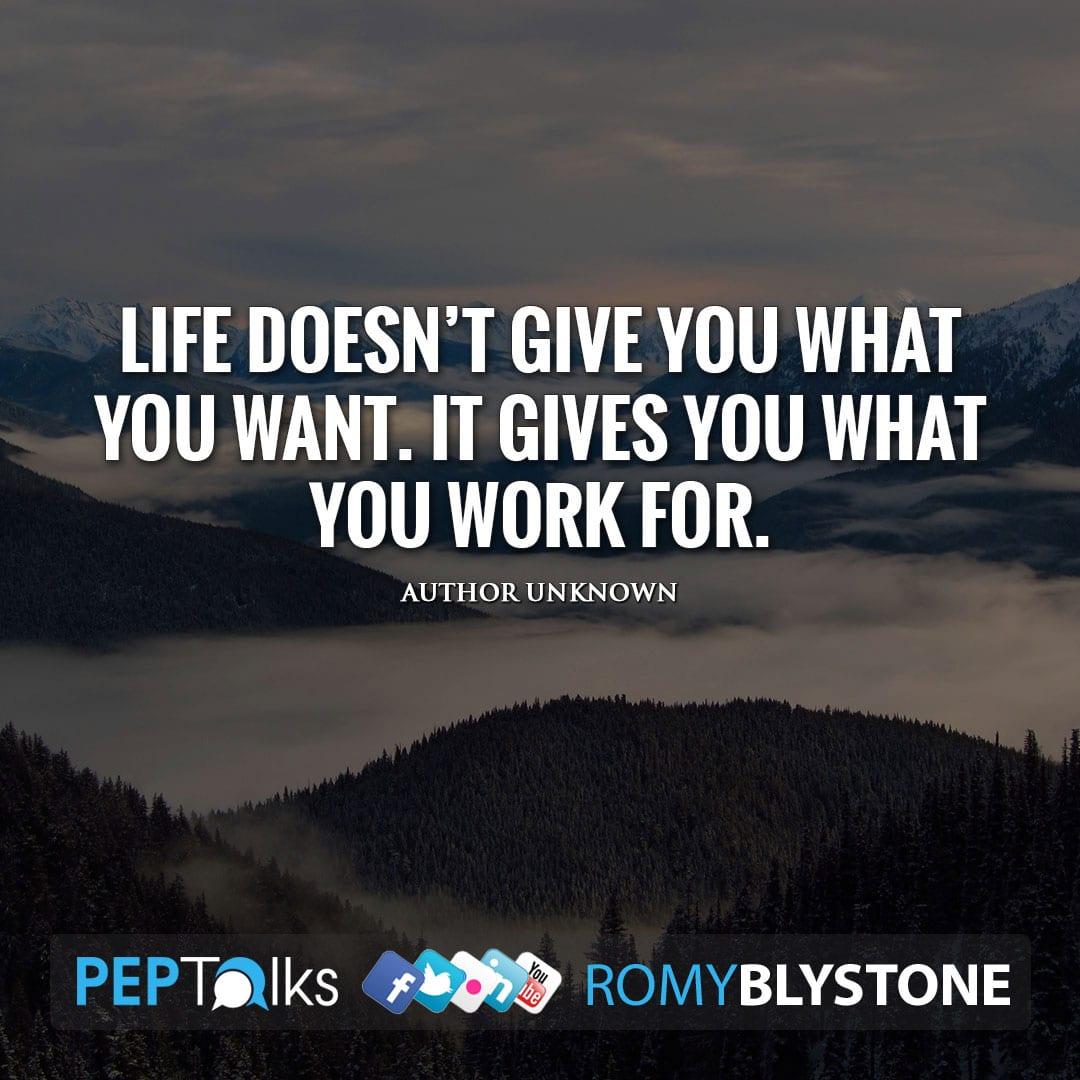 Life doesn't give you what you want. It gives you what you work for. by Author Unknown